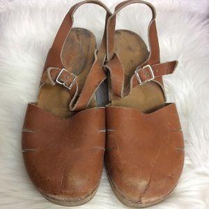 Vintage Wooden Leather Clogs 38